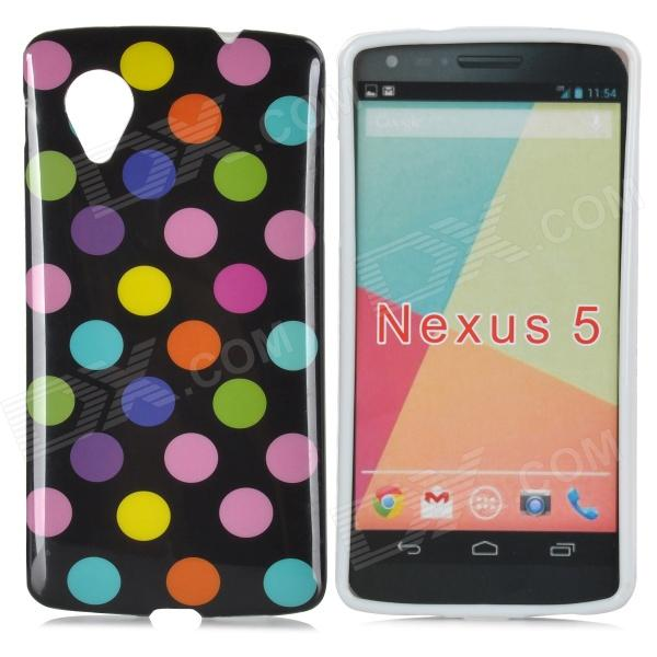 Polka Dot Style Protective TPU Back Case for LG Nexus 5 - Black + Multicolor protective tpu back case for lg nexus 5 black