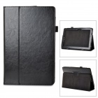 Stylish Flip-open PU Leather Case w/ Holder + Pen Space for ASUS T100 - Black