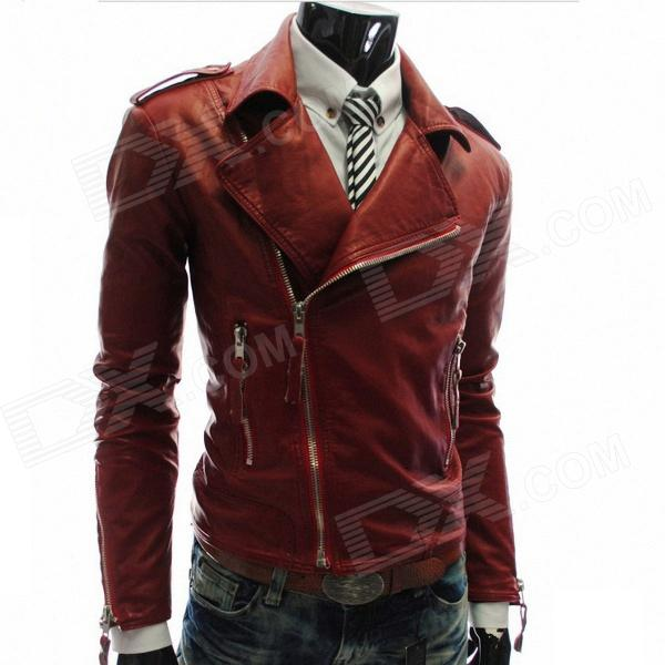 MUGE 9100 Men's Slim Fit More Zips PU Leather Coat - Wine Red (Size XXL)