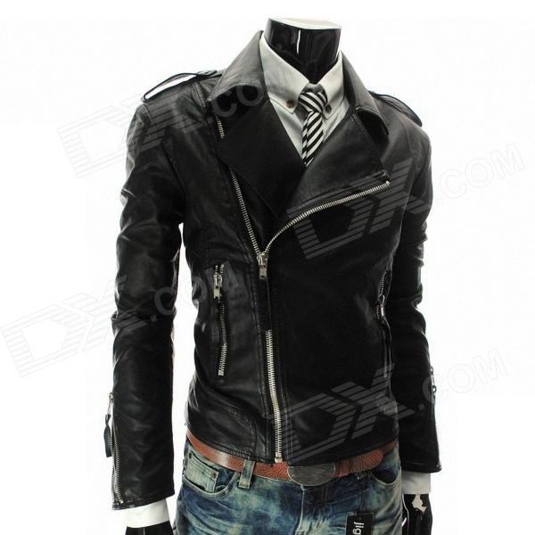 MUGE 9100 Men's Slim Fit More Zips PU Leather Coat - Black (Size XXL)
