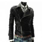 MUGE 9100 Men's Slim Fit More Zips PU Leather Coat - Black (Size XL)