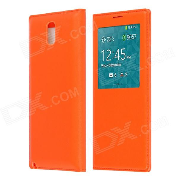 Protective PU Leather Case Cover w/ Visual Window / Auto-Sleep for Samsung Galaxy Note 3 - Orange protective pu leather case w battery back cover for samsung n9006 n9002 n9005 n9000 deep pink