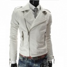 MUGE 9100 Men's Slim Fit More Zips PU Leather Coat - White (Size M)