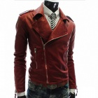 MUGE 9100 Men's Slim Fit More Zips PU Leather Coat - Wine Red (Size M)