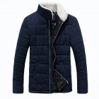Men's Lamb's Wool Turn Down Collar Thicken Zippered Coat - Deep Blue (Size-L)
