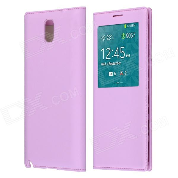 Protective PU Leather Case Cover w/ Visual Window / Auto-Sleep for Samsung Galaxy Note 3 N9000 -Pink protective pu leather case w battery back cover for samsung n9006 n9002 n9005 n9000 deep pink