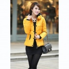 Women's Casual Hooded Short Cotton Coat - Yellow (L)