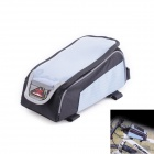 Fly Wolf Knight Stylish Bicycle Front Tube Oxford Bag for Cellphone - Black + Blue