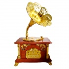 Retro Phonograph Music Box - Golden + Brown