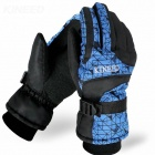 Kineed Keeping Warm Full-Finger Skiing Gloves - Black + Blue (Pair / Size-M)
