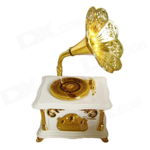 Christmas Gifts Archaize Phonograph Music Box - Golden + White
