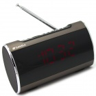 "SANSUI A46 3.0"" LED 2-CH Bass Media Player Speaker w/ FM / Music Alarm Clock / TF - Brown + Black"