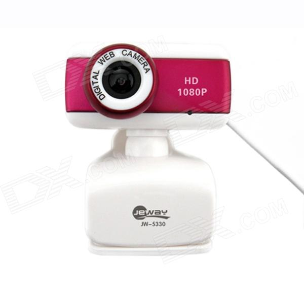 Jeway JW-5330 5.0 MP Camera w/ Microphone for Laptop / Desktop Computer - Rose Red + White