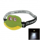 35lm 2-LED White Children Wearing Frog Lights - Green + Yellow (2 x AAA)
