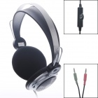 SHIKE SK-929 3.5mm Plug Stereo Headphone w/ Hidden Mic For PC / MP3 / MP4 / DVD - Black + Silver