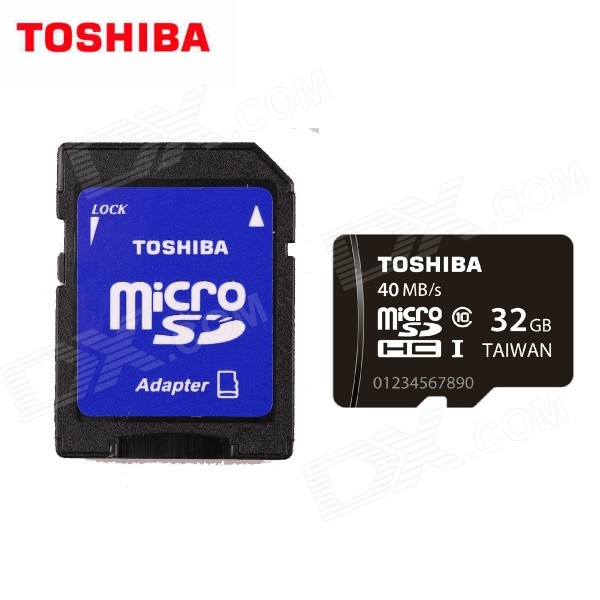 TOSHIBA Micro SDHC TF Card w/ SD Adapter - Black + White (32GB / Class10) tt tf ths 02b hybrid style black ver convoy asia exclusive
