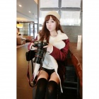 Woman's Fashionable Warm Berber Fleece Lining Jacket Coat - Claret Red
