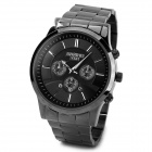 BARIHO Y541 Stainless Steel Band 3 Ring Deocration Quartz Watch w/ Calender - Black (1 x 626)