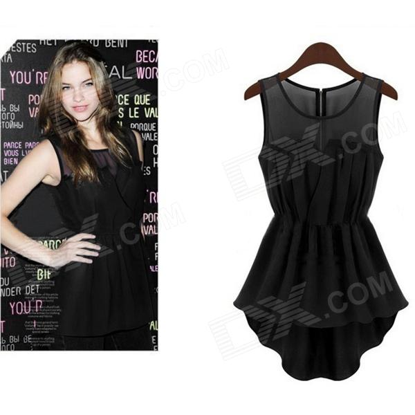 JM369 Round Neck Sleeveless Dovetail Dress Chiffon Tops Blouse - Black (M)