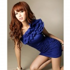 JM1148 Elastic Milk Silk Sexy One-shoulder Off Dress - Blue