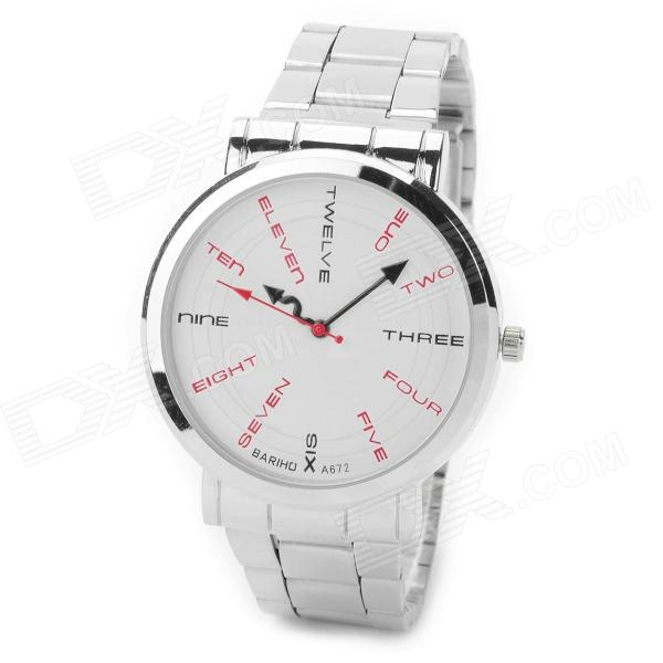 BARIHO A672 Fashion English Word Pattern Stainless Steel Band Quartz Wrist Watch - Silver + White