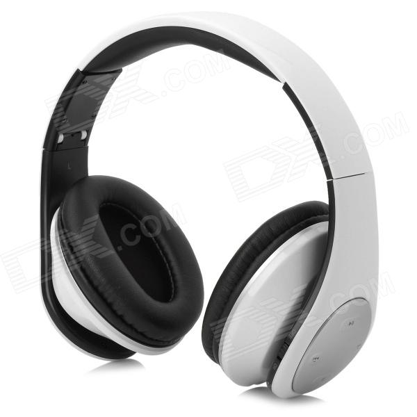 Qiyin MD-990 Wireless Stereo Headset w/ TF / FM - White + Black qiyin bt 990 stylish bluetooth v3 0 edr wireless stereo headset w microphone black silver
