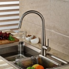 YDL-F-0523 Contemporary Nickel Finish Spring Pull-out Kitchen Faucet - Silver