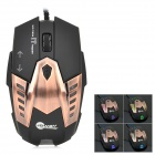 JEWAY JM1301 USB 2.0 Wired LED Optical 500 / 800 / 1200 dpi Gaming Mouse - Antique Brass + Black