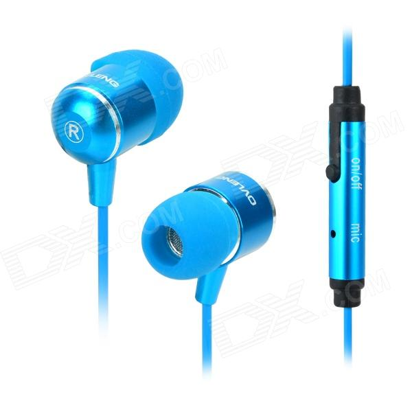 OVLENG iP650 Stylish In-Ear Earphones w/ Microphone / Cable Control - Black + Blue