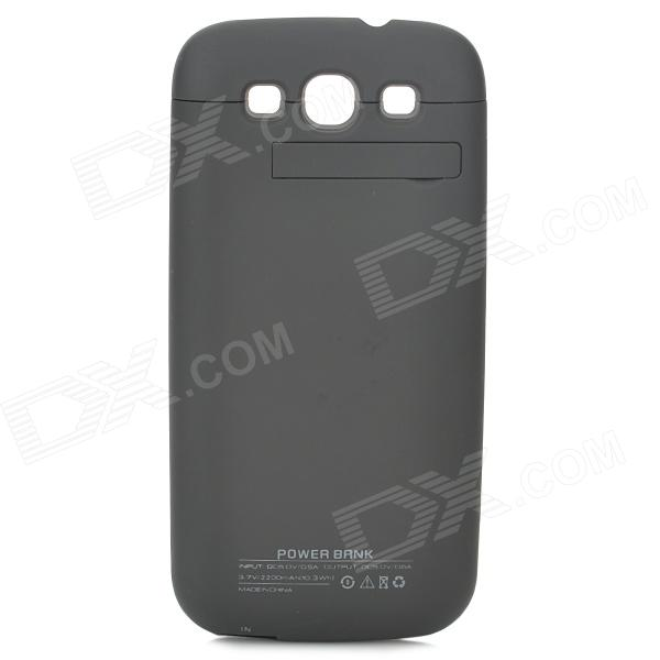Portable 2200mAh Li-polymer Battery Back Case for Samsung i9300 - Black 3200mah floureon li polymer battery case