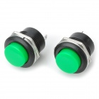 6A PA66 Self-resetting Push Button Switches - Green + Black (2 PCS / 125~250V)