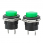 6A PA66 auto-redefinindo Switches Push Button - Green + Black (2 PCS / 125 ~ 250V)