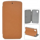 Protective Flip Open PU + PC Case w/ Stand for LG Nexus 5 - Brown