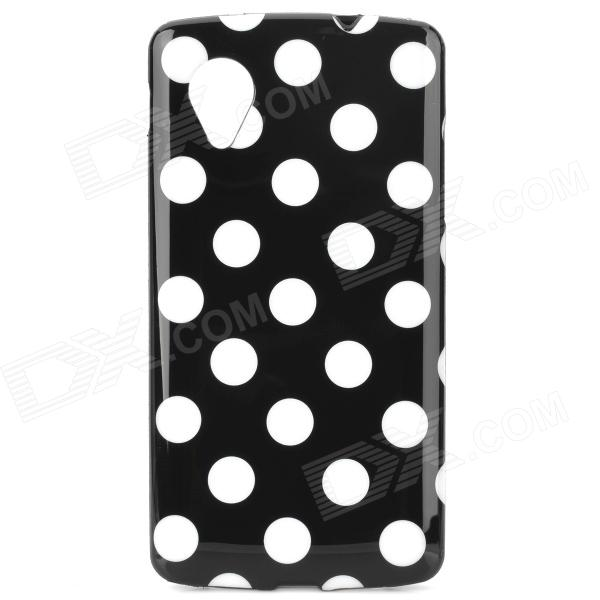 Fashion Stylish Polka Dot Pattern Protective TPU Back Case for LG NEXUS 5 - Black + White protective silicone back case for lg nexus 5 translucent white
