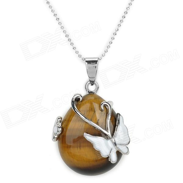 LSLJ1 Butterfly Water Drop Style Tiger-eye Pendant Necklace for Women - Yellow Brown + White