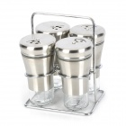 E2HF 4-in-1 Glass + Stainless Steel Seasoning Holders - Transparent + Silver