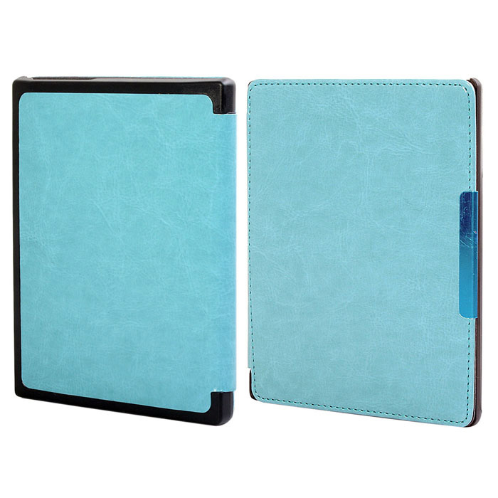 Protective PU Leather Flip Case Cover w/ Auto Sleep for Kobo Non HD - Light Blue