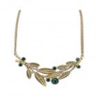 Ethnic Leaves Style Zinc Alloy Women's Necklace - Bronze + Green
