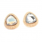 Fashionable Punk Style Dominate Triangle Pattern Earrings - Golden (Pair)