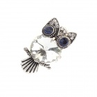 Exaggerated Characteristic Owl Style Zinc Alloy Women's Ring - White + Silver