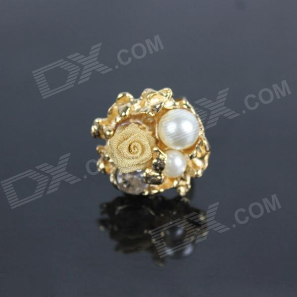 Rose Style Pearl Rhinestone Zinc Alloy Ring - Golden
