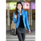 Fashion Women's Slim Warm Cotton Jacket - Blue (Size-L)