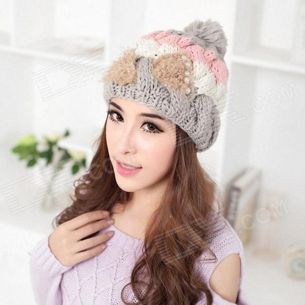 Wool Warm Pearl Bowknot Lady's Hat - Grey autumn winter baby cotton beanies adults cap parent child hats boys girls warm knitted hat with scarf children new wool hat