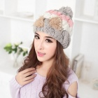 Wool Warm Pearl Bowknot Lady's Hat - Grey