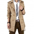 Men Casual Long Double-breasted Trench Coat - Khaki (Size-L)