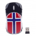 Stylish Car Shaped Norwegian Flag Style 1200dpi 2.4G Wireless Optical Mouse - Black + Red (2 x AAA)