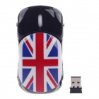 Stylish Car Shaped Union Jack Pattern 1200dpi 2.4G Wireless Optical Mouse - Red + Black (2 x AAA)