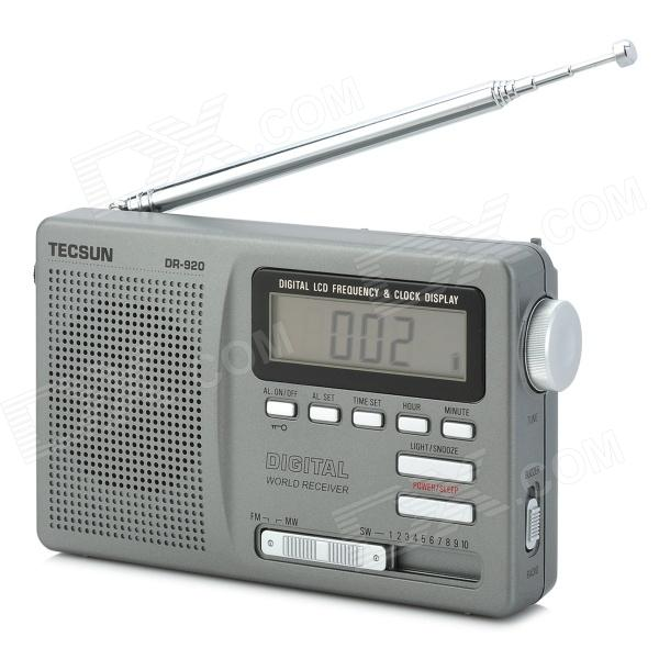 TECSUN DR-920 Digital FM AM MW SW Multiband Radio - Silver + Silver Grey