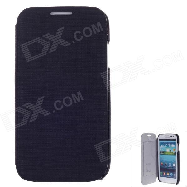 SAYOO 2349 Small Stone Striation Protective PU Leather Case for Samsung Galaxy S4 i9500 - Black