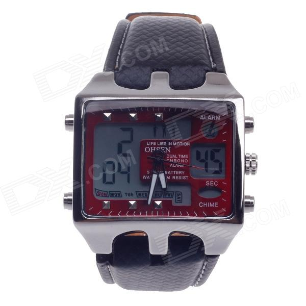 OHSEN AD0930 Stylish Men's Sport Analog + Digital Quartz Wrist Watch - Black + Red (1 x CR-2025)